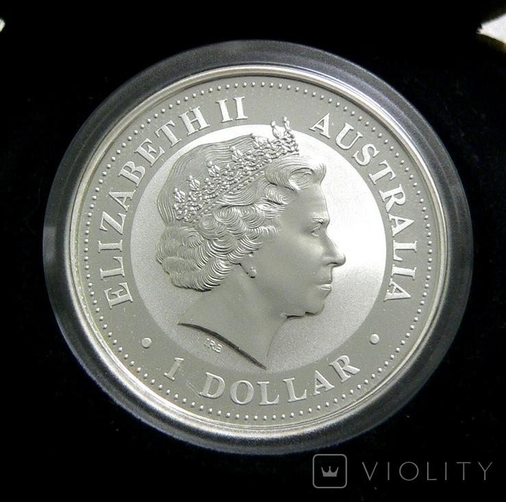 Год ЗМЕИ, 1-й Лунар, Австралия, 2001 - унция, серебро ПОЗОЛОТА, фото №3