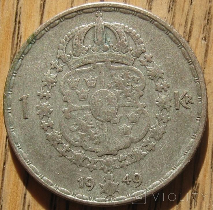 1 крона 1949 Швеция, фото №2