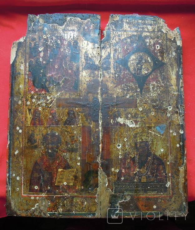 Староверческая Ветковская Икона четырехчастник с Распятием Господним, фото №2