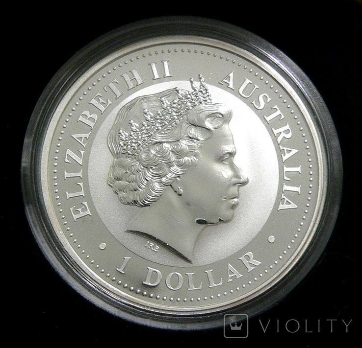 Год ДРАКОНА, 1-й Лунар, Австралия, 2000 - унция, серебро ПОЗОЛОТА, фото №3