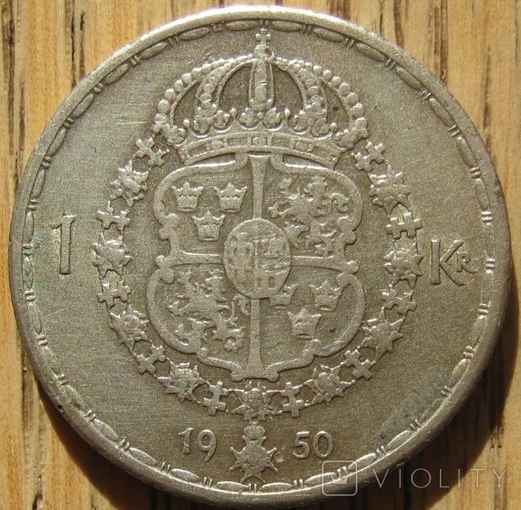 1 крона 1950 Швеция, фото №2