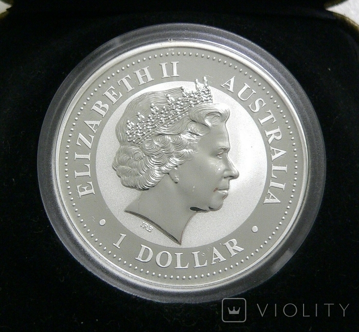 Год ПЕТУХА, 1-й Лунар, Австралия, 2005 - унция, серебро ПОЗОЛОТА, фото №3