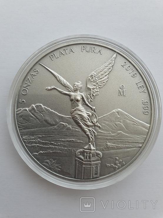 Серебрянная монета Libertad antiqued finish 5 oz 2019, фото №2
