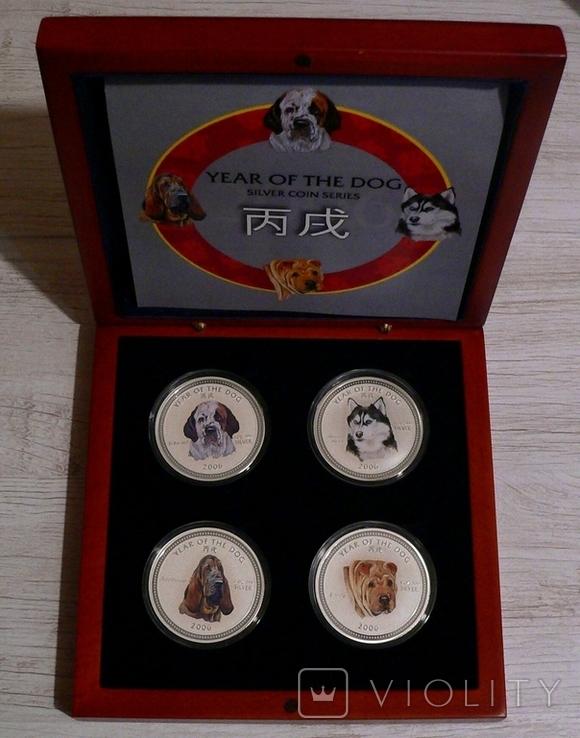 Набор из 4 монет - Год Собаки - серебро 999 - ПОЛНЫЙ КОМПЛЕКТ, фото №2