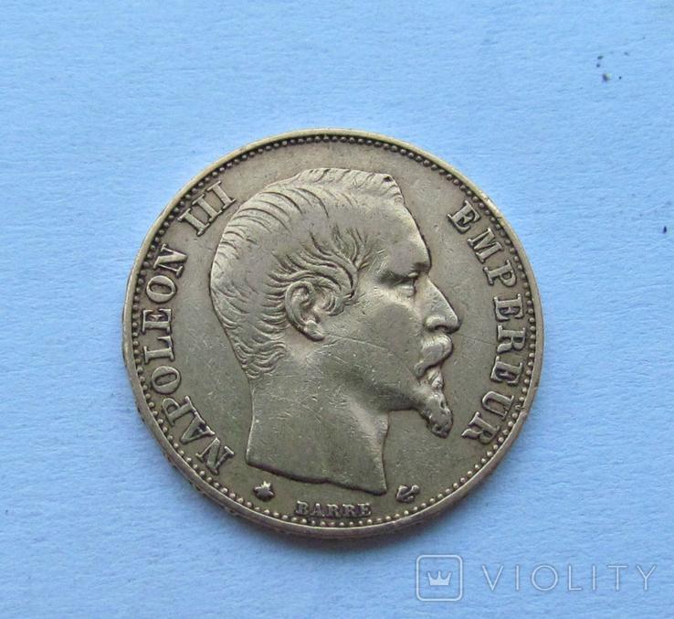 20 Франків 1859 Франція 6,45 гр. 900, фото №2