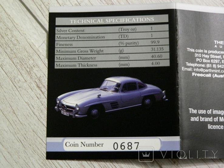 Mercedes-Benz 300 SL Gullwing - серебро, унция, 1 доллар - ПОЛНЫЙ КОМПЛЕКТ, фото №6