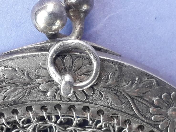 Кошелёк-кольчужка к шатлену, серебро, 36 гр., какая-то Европа, модерн, фото №5