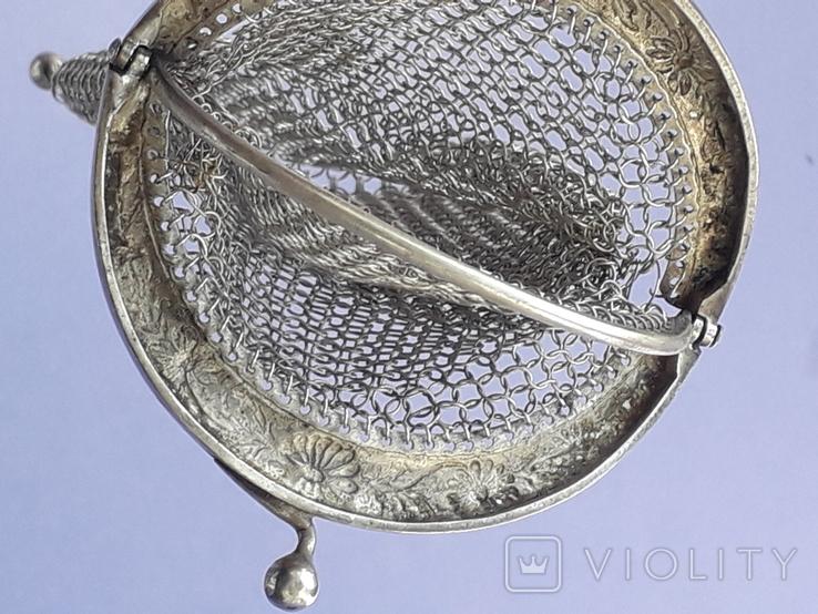 Кошелёк-кольчужка к шатлену, серебро, 36 гр., какая-то Европа, модерн, фото №10