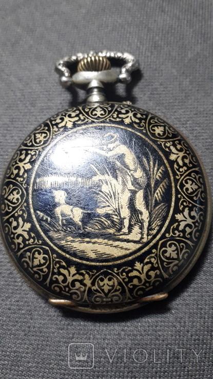 """Swiss pocket watch. Часы карманные. Швейцария. Тематические """"Охота""""., фото №2"""