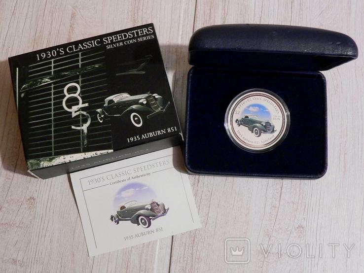 Классические спидстеры 30-х годов - Аубурн - серебро, унция, 2 доллара - ПОЛНЫЙ КОМПЛЕКТ, фото №2