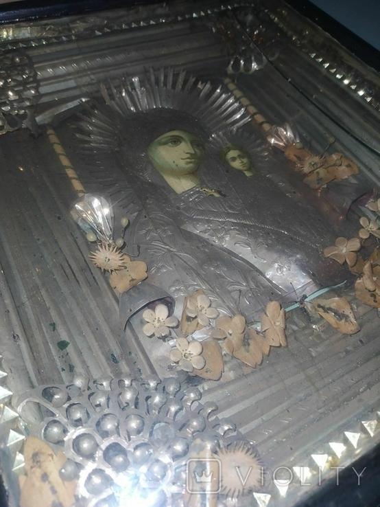 Божья Матерь старая икона, фото №4
