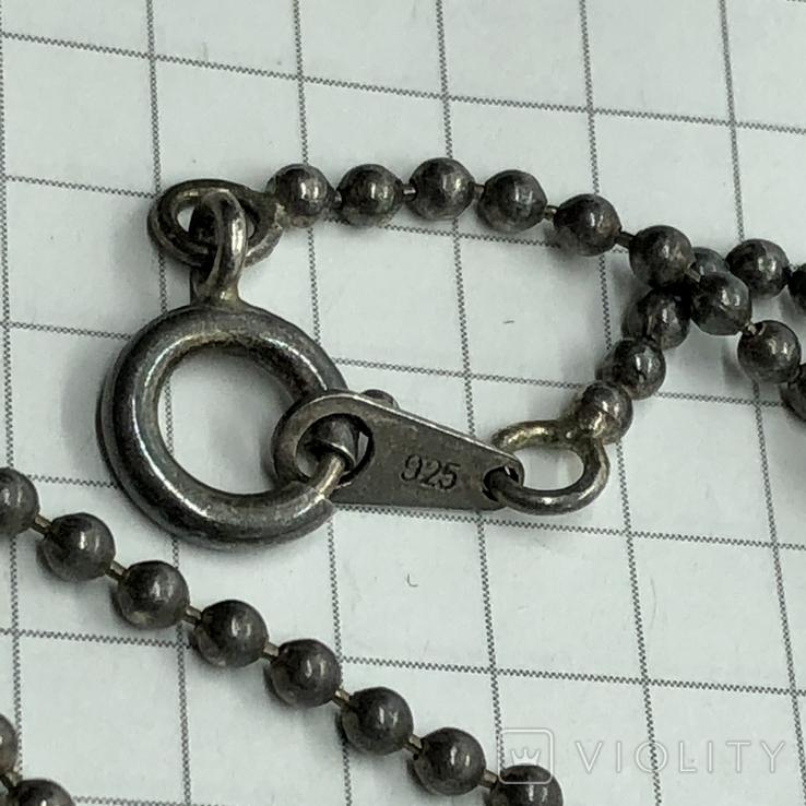 Подвес серебро с янтарем на цепочке, фото №7