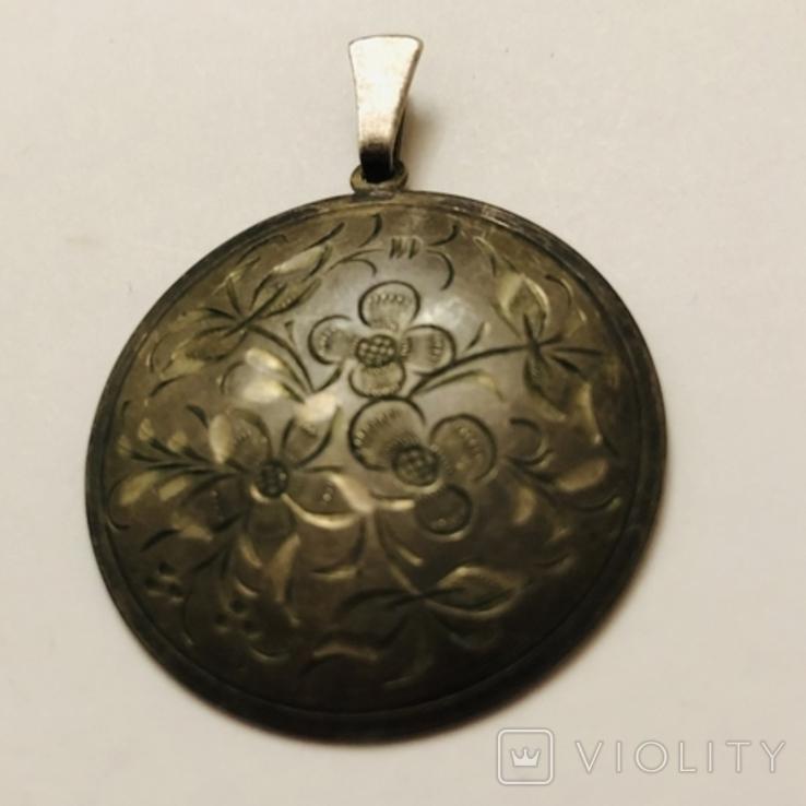 Кулон серебро 835 HP штихель старенький, фото №2
