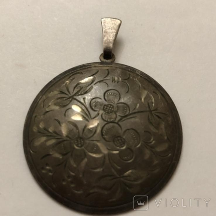 Кулон серебро 835 HP штихель старенький, фото №3