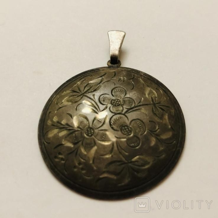 Кулон серебро 835 HP штихель старенький, фото №4