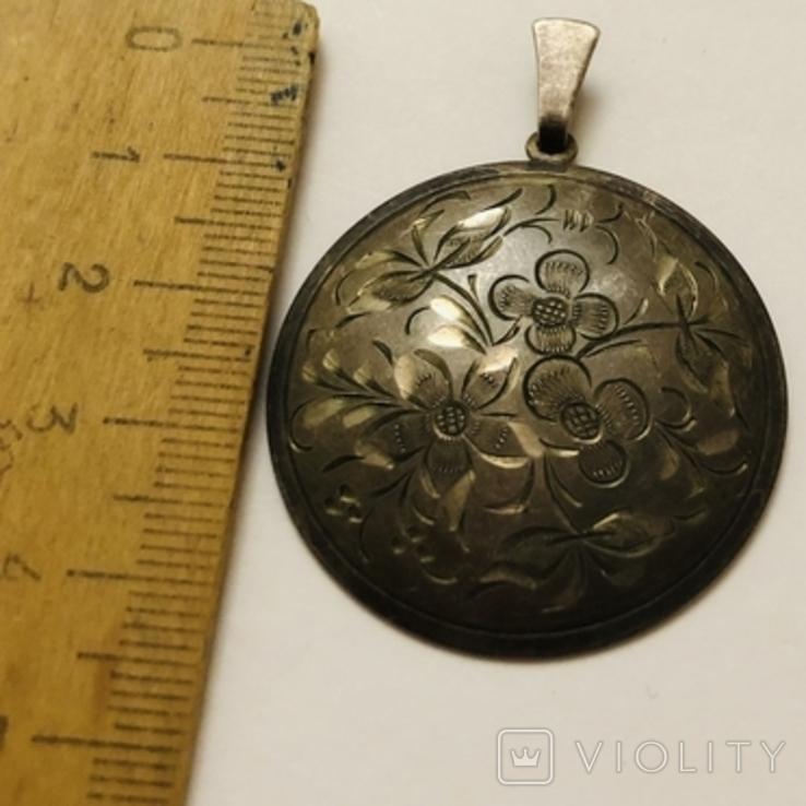 Кулон серебро 835 HP штихель старенький, фото №6