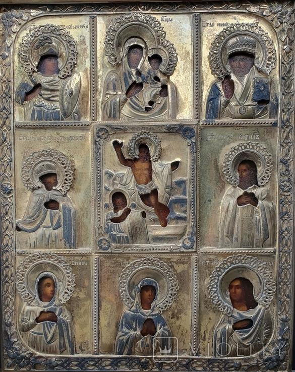 Девяти частная  аналойная икона  в серебряном позолоченном окладе 84пр., фото №2