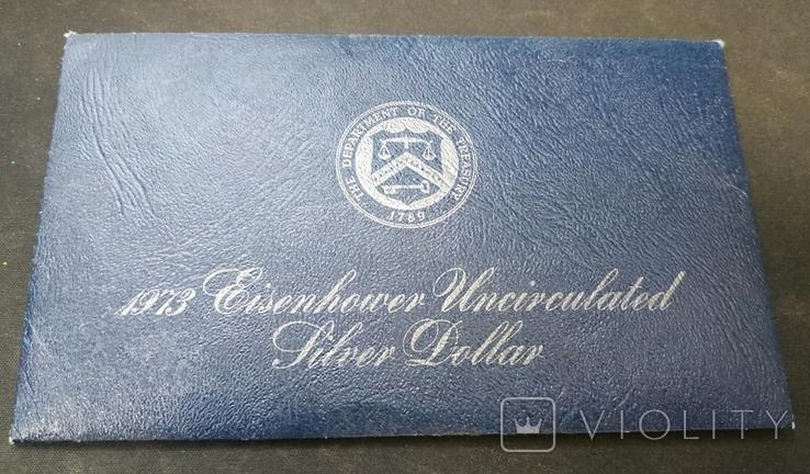 США 1 доллар 1973 АНЦ серебро запайка, фото №3