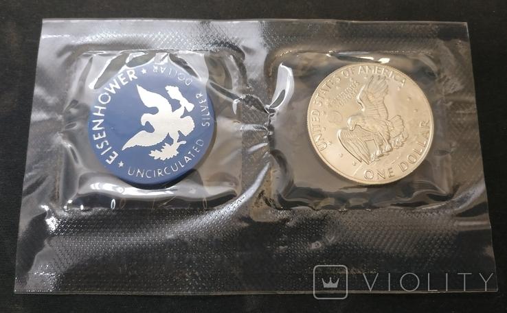 США 1 доллар 1973 АНЦ серебро запайка, фото №4