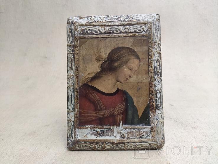 Икона. Богородица. 12,5х18. Левкас, позолота., фото №2