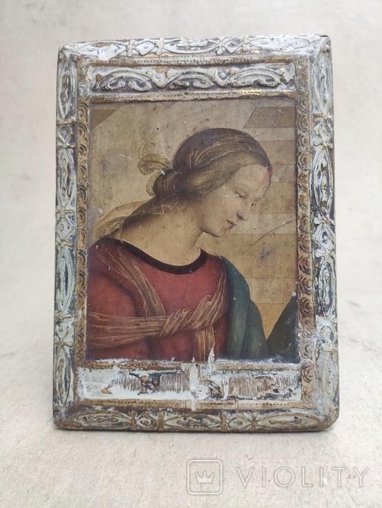 Икона. Богородица. 12,5х18. Левкас, позолота., фото №3