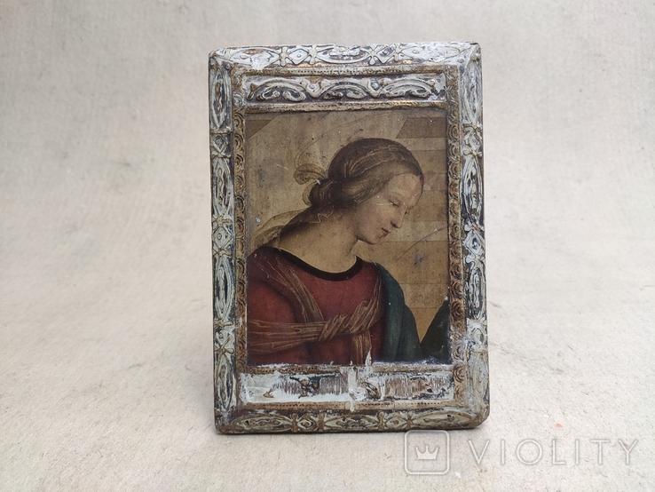 Икона. Богородица. 12,5х18. Левкас, позолота., фото №5