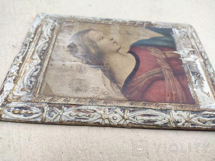Икона. Богородица. 12,5х18. Левкас, позолота., фото №9