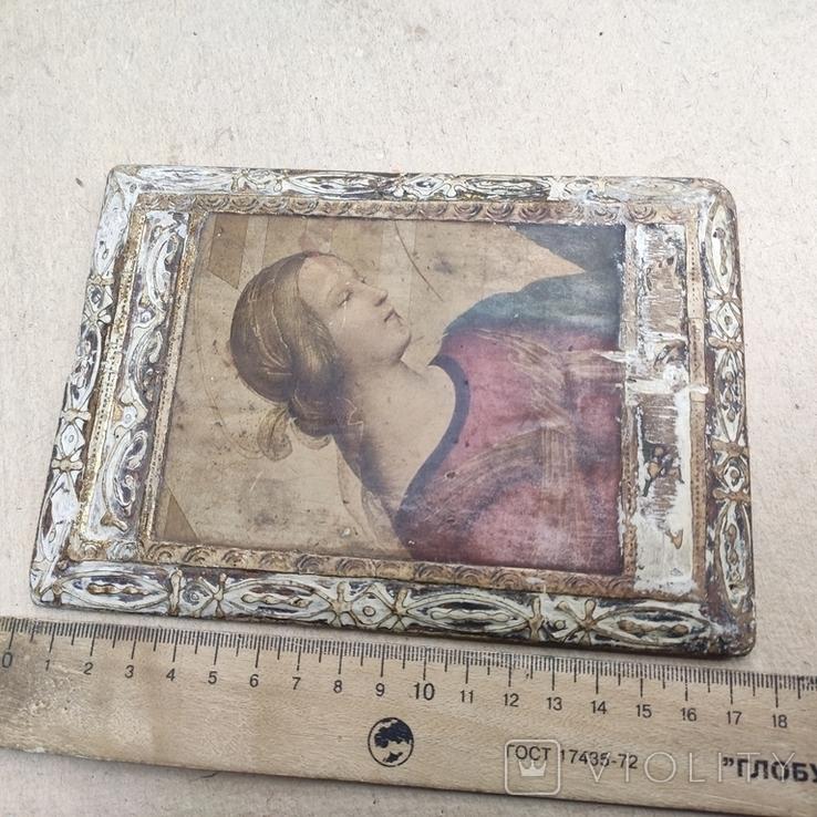 Икона. Богородица. 12,5х18. Левкас, позолота., фото №11