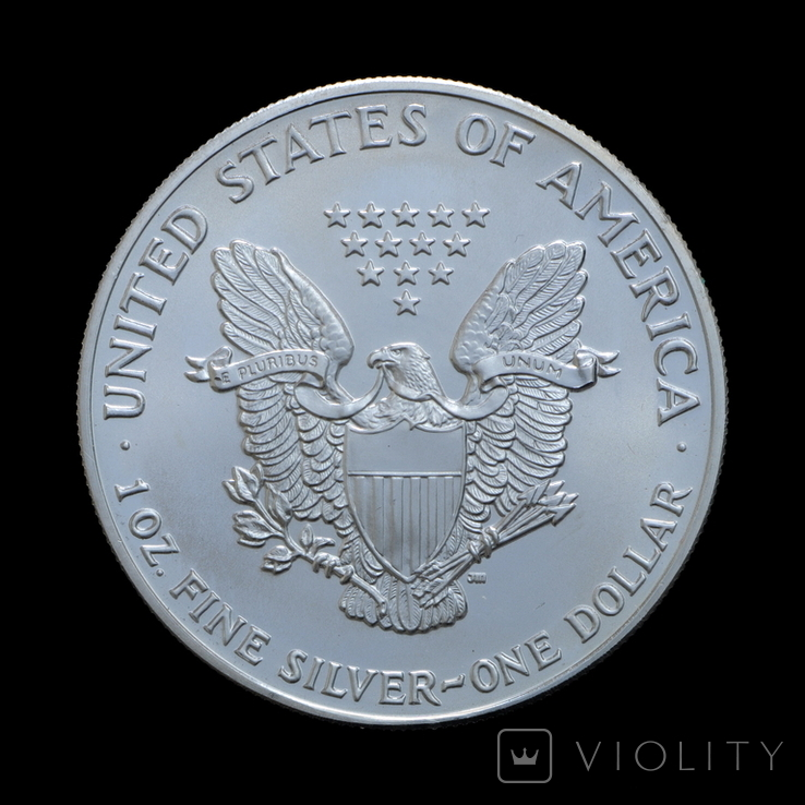 1 Доллар 1990 Шагающая Свобода (Серебро 0.999, 31.1г) 1oz, США Унция, фото №3