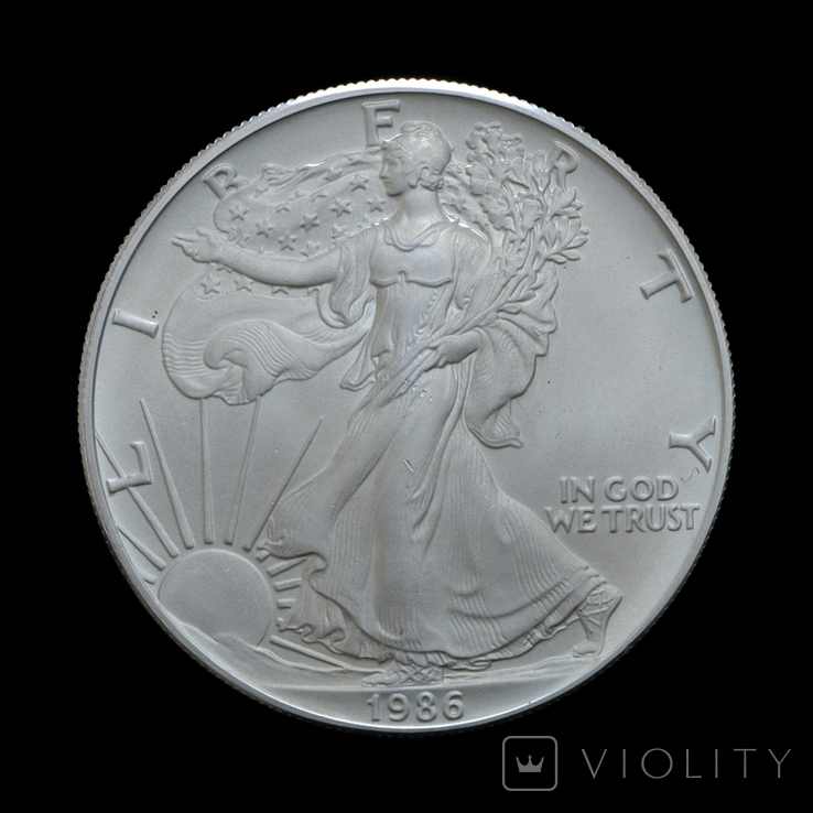 1 Доллар 1986 Шагающая Свобода (Серебро 0.999, 31.1г) 1oz, США Унция, фото №2
