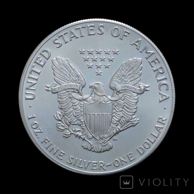 1 Доллар 1986 Шагающая Свобода (Серебро 0.999, 31.1г) 1oz, США Унция, фото №3