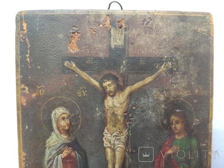 Распятие с Богородицей и Иоанном Богословом. 1858г. Подписная. Подпись художника., фото №3