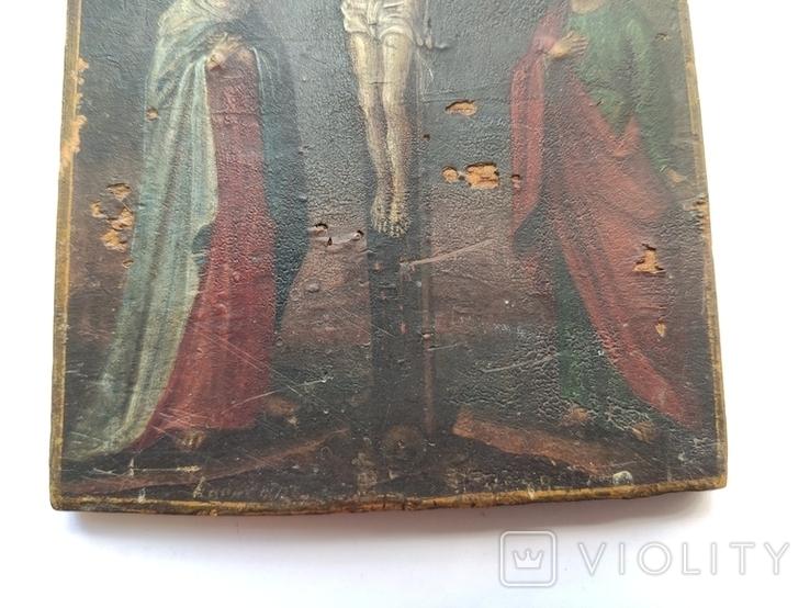 Распятие с Богородицей и Иоанном Богословом. 1858г. Подписная. Подпись художника., фото №4
