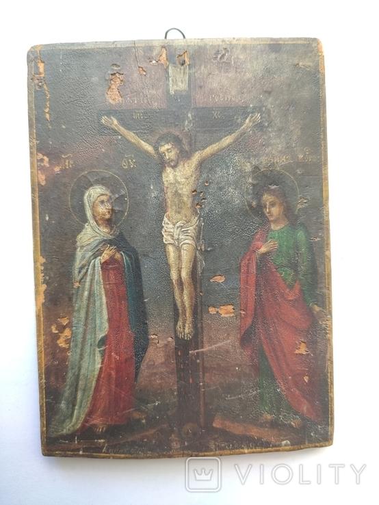 Распятие с Богородицей и Иоанном Богословом. 1858г. Подписная. Подпись художника., фото №5
