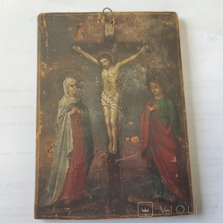 Распятие с Богородицей и Иоанном Богословом. 1858г. Подписная. Подпись художника., фото №6