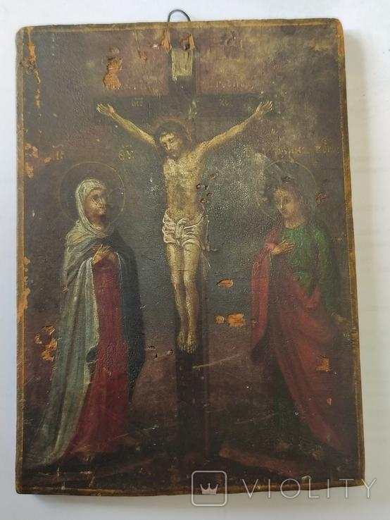 Распятие с Богородицей и Иоанном Богословом. 1858г. Подписная. Подпись художника., фото №13