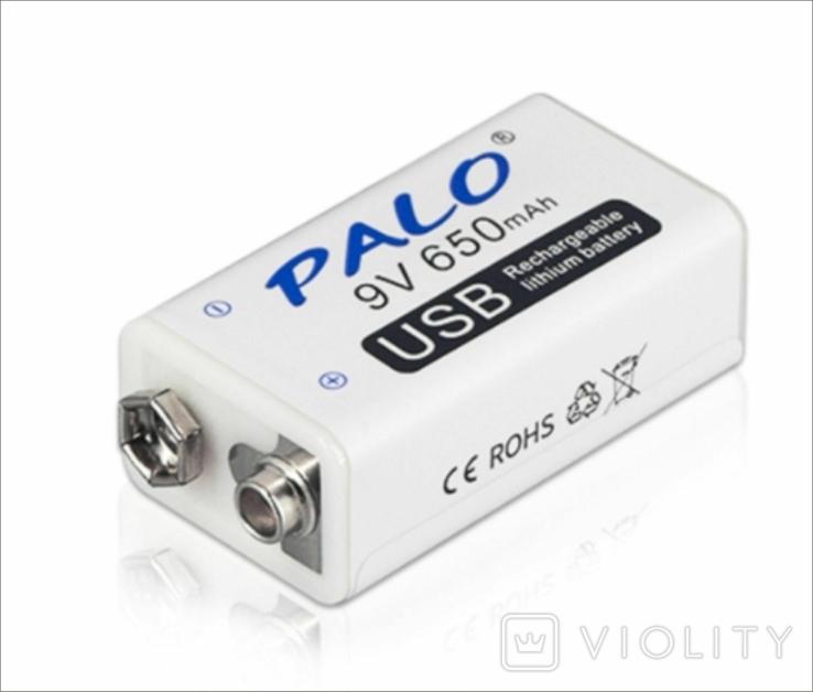 Аккумуляторная батарея 9 вольт типа Крона li-ion 650 мАч с USB портом для зарядки, фото №5