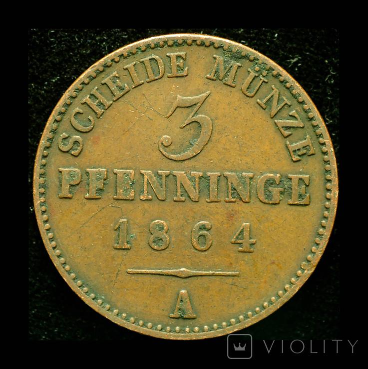 Пруссия 3 пфеннига 1864, фото №2