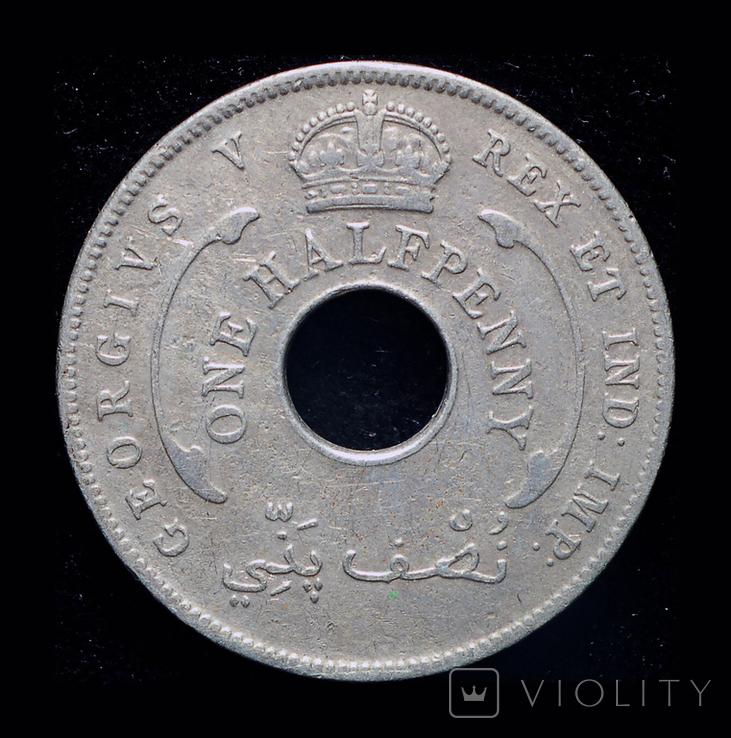 Британская Западная Африка 1/2 пннни 1933 редкий год, фото №3