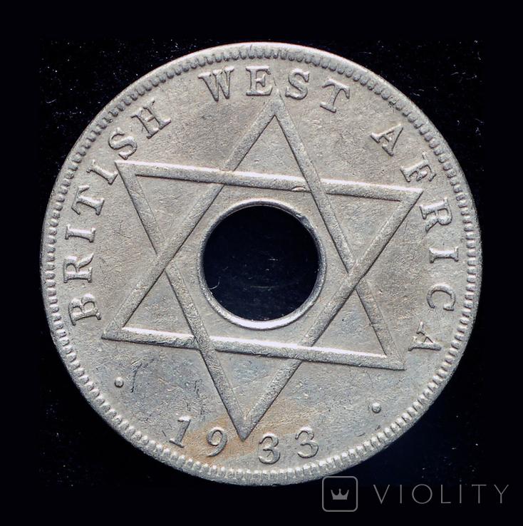 Британская Западная Африка 1/2 пннни 1933 редкий год, фото №2