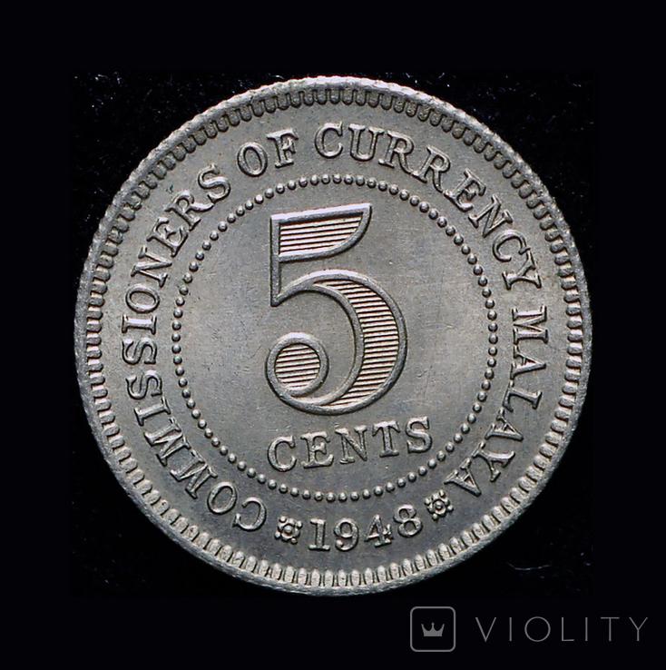 Британская Малайя 5 центов 1948, фото №3