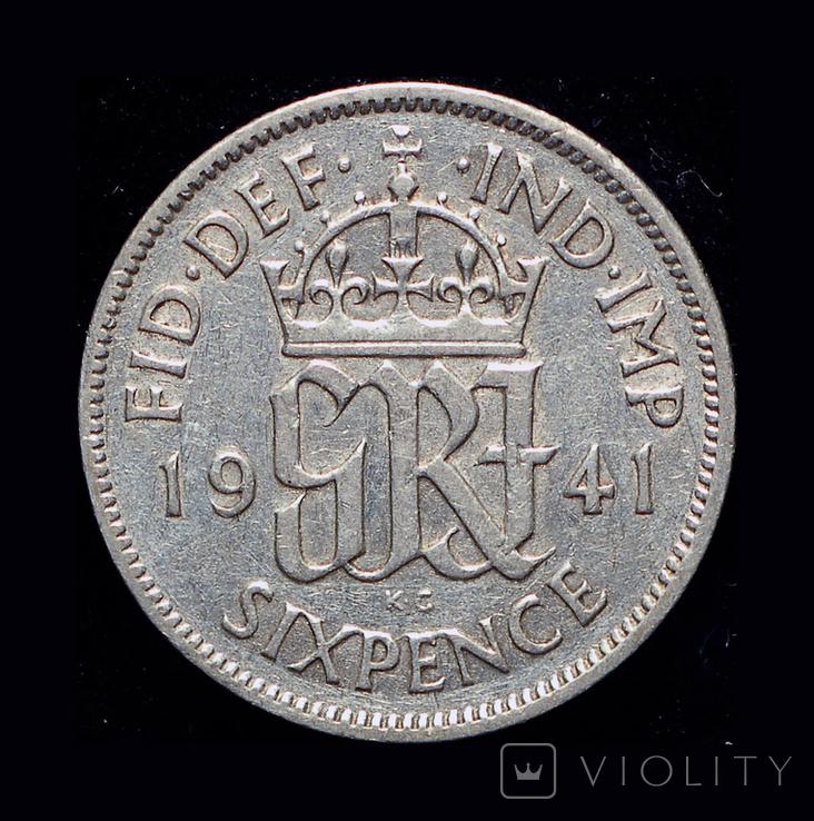 Великобритания 6 пенсов 1941 серебро, фото №2
