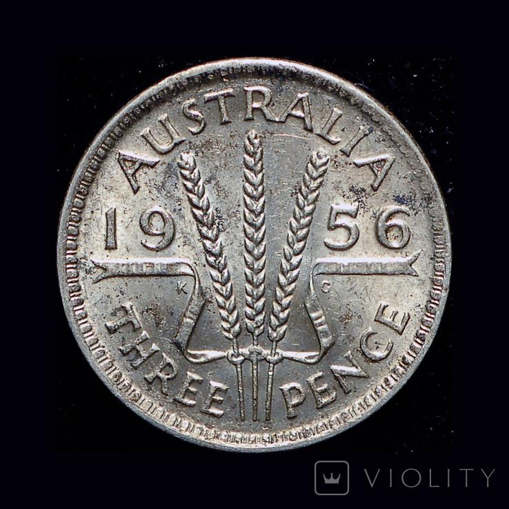 Австралия 3 пенса 1956 серебро, фото №2