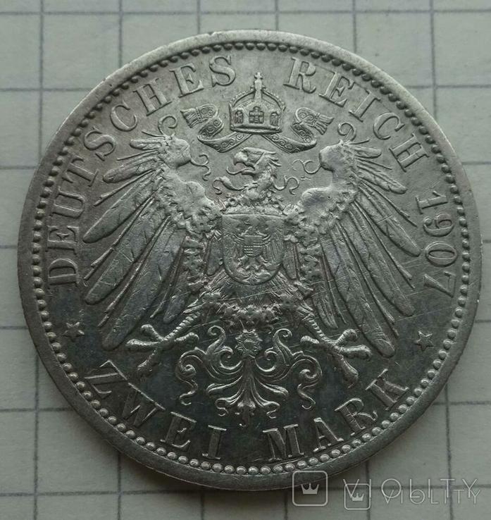 2 марки, Пруссия, 1907 год., фото №5