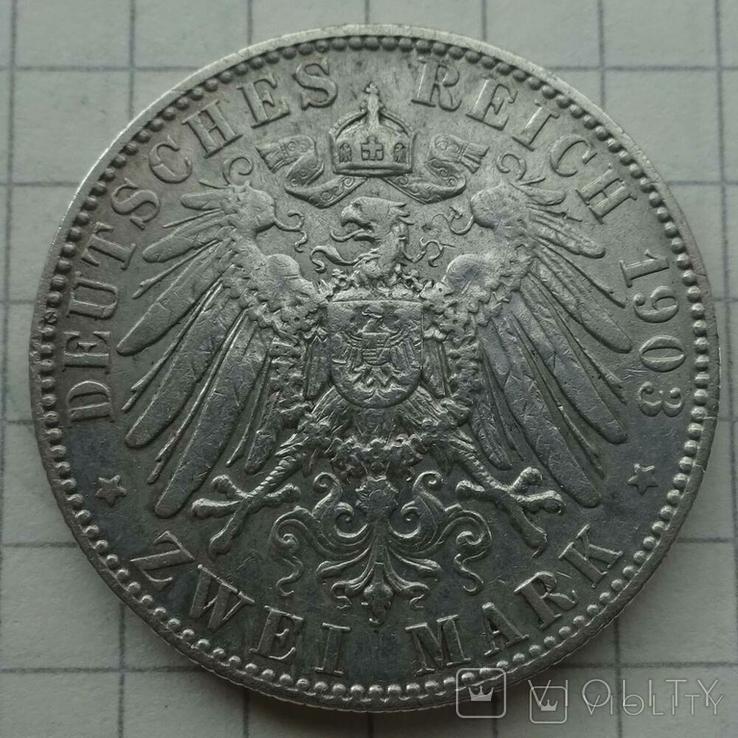 2 марки, Саксония, 1903 год., фото №6