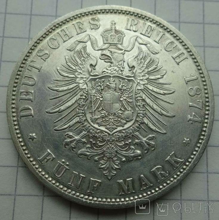 5 марок, Пруссия, 1874 год., фото №7