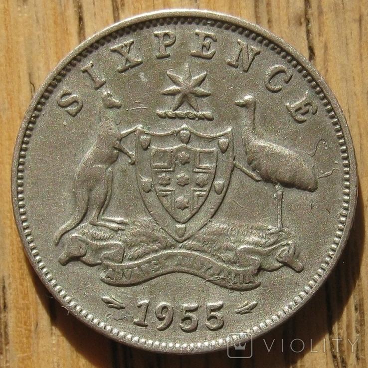 6 пенсов 1955 Австралия, фото №2