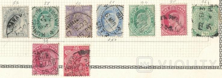 059 Британская Индия 1902-1912, 9 марок без повторов на наклейках