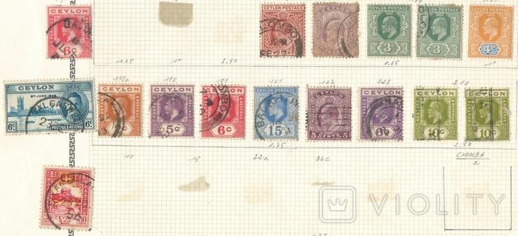060 Брит. колонии. Цейлон 1902-1937, 16 марок на наклейках (с разновидностями)
