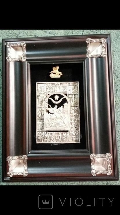 Икона с серебряными углами Георгий победоносец, фото №3
